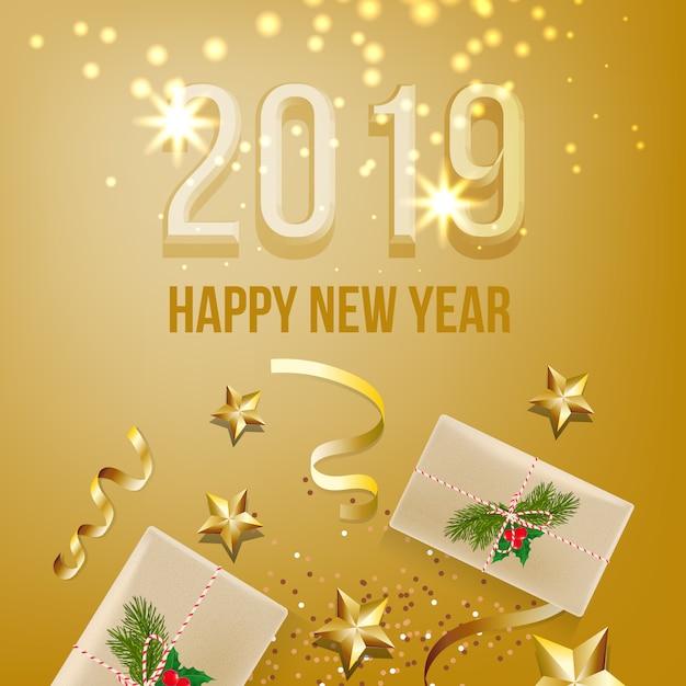 Conception de la carte de vingt-neuf ans du nouvel an Vecteur gratuit