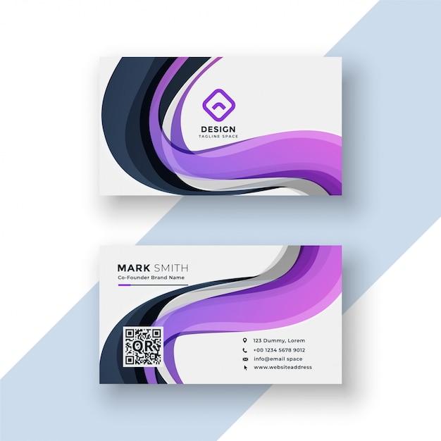 Conception de carte de visite abstraite avec des formes ondulées violettes Vecteur gratuit