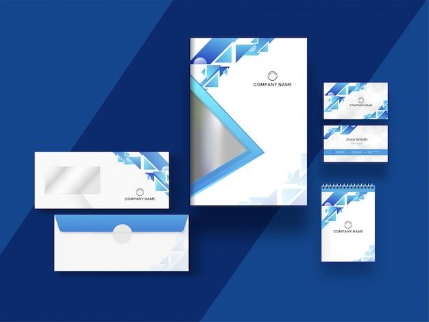 Conception De Carte De Visite, De Couverture Et De Modèle Avec Des éléments Géométriques Abstraits Sur Bleu. Vecteur Premium