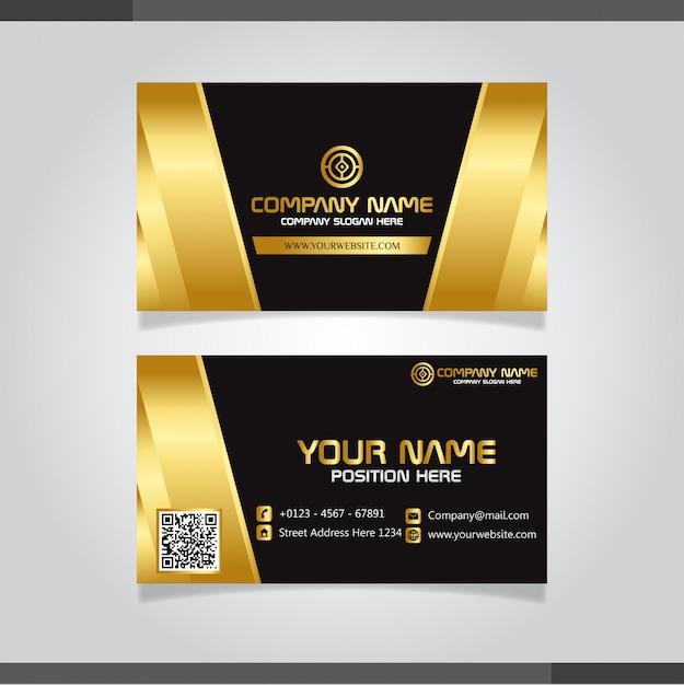 Conception de carte de visite créative élégante d'or Vecteur Premium