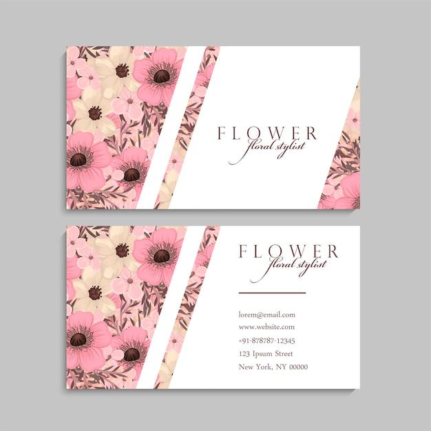 Conception de carte de visite florale Vecteur Premium