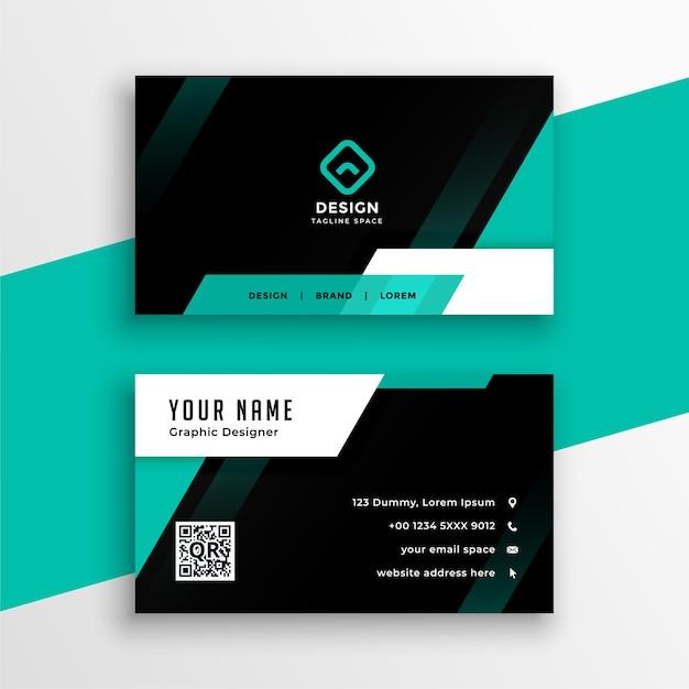 Conception De Carte De Visite Géométrique Turquoise Et Noire Attrayante Vecteur gratuit