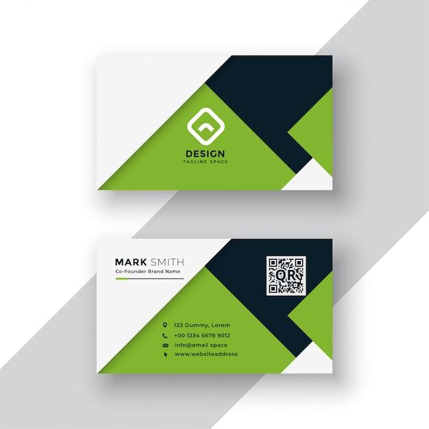 Conception de carte de visite géométrique vert élégant Vecteur gratuit