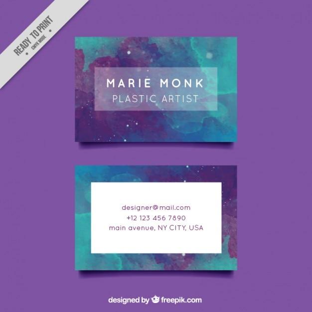 La conception de carte de visite peinte à la main aquarelle Vecteur gratuit