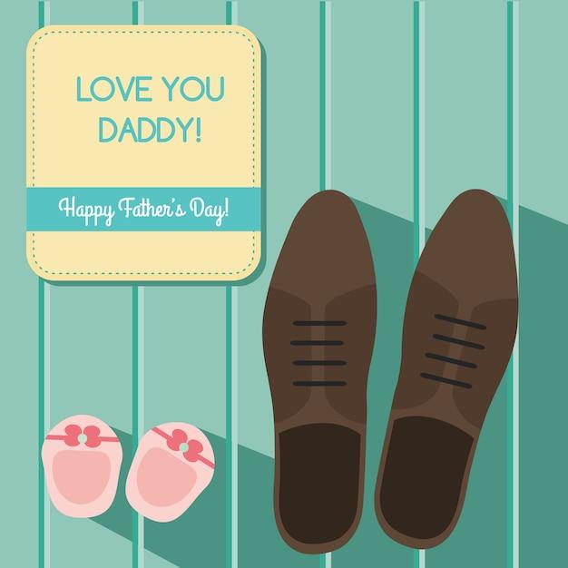 Conception de carte de voeux bonne fête des pères sertie de chaussures homme et chaussons bébé Vecteur Premium