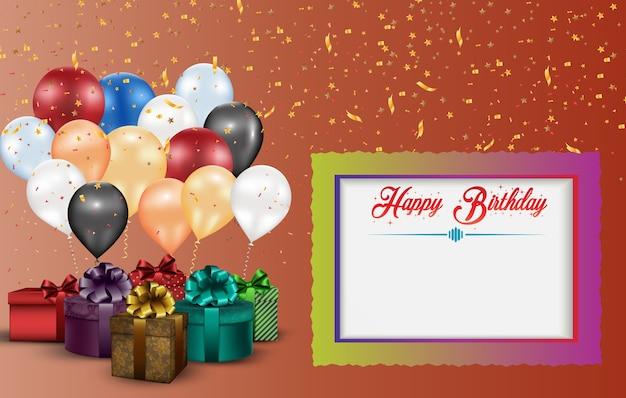 Conception de carte de voeux joyeux anniversaire Vecteur Premium