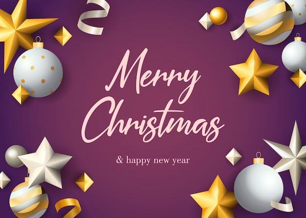 Conception De Carte De Voeux Joyeux Noël Avec Des Boules Vecteur gratuit