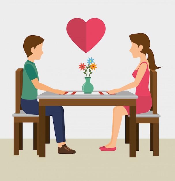 Conception de cartes d'amour Vecteur Premium