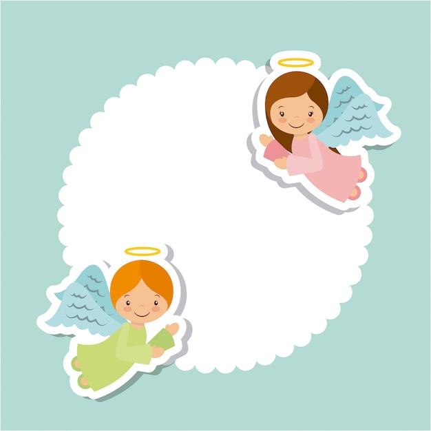 Conception de cartes d'anges Vecteur Premium
