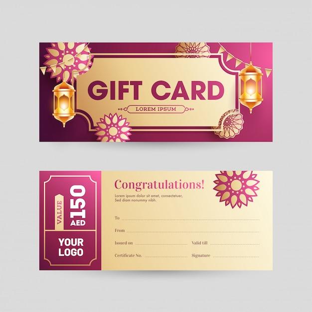 Conception de cartes-cadeaux ou de bannières horizontales à l'avant et à l'arrière Vecteur Premium