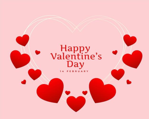Conception De Cartes De Coeurs Heureux Saint Valentin Vecteur gratuit