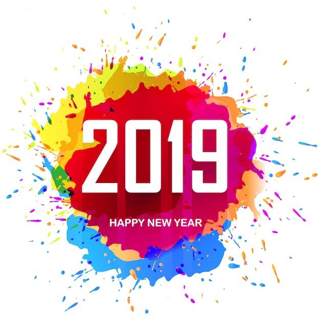Conception de cartes colorées élégante 2019 bonne année Vecteur gratuit