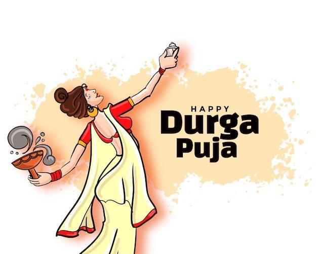 Conception De Cartes De Festival Happy Durga Pooja Navratri Vecteur gratuit