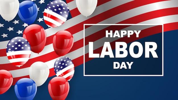 Conception de cartes de fête du travail fond de ballons drapeau américain Vecteur Premium