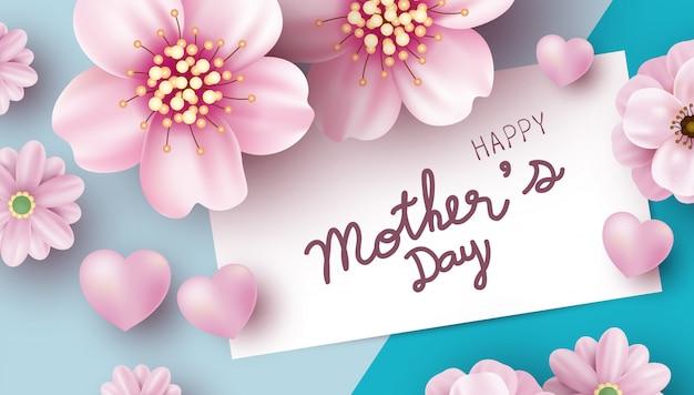 Conception de cartes de fête des mères de fleurs roses sur fond de papier de couleur Vecteur Premium