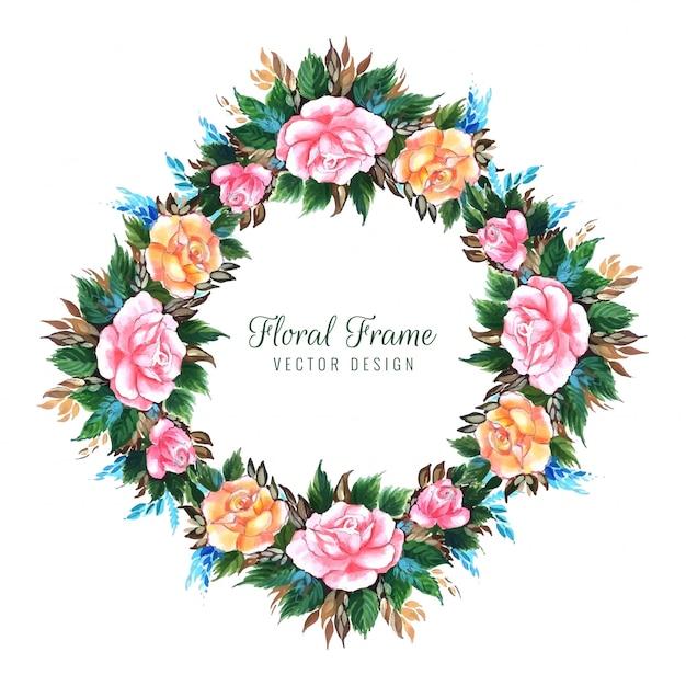 Conception de cartes de fleurs décoratives de mariage Vecteur gratuit