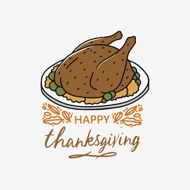 Conception de cartes happy thanksgiving Vecteur Premium