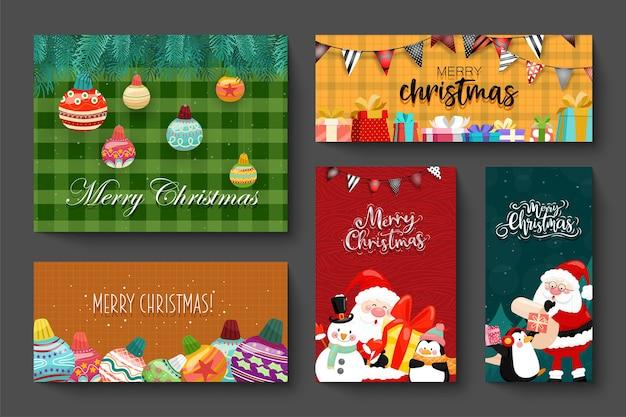 Conception De Cartes Avec Des Icônes De Joyeux Noël Vecteur gratuit