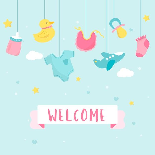 Conception de cartes d'invitation de douche de bébé Vecteur gratuit