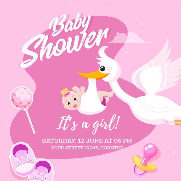 Conception de cartes d'invitation fête fille bébé douche avec cigogne l Vecteur Premium