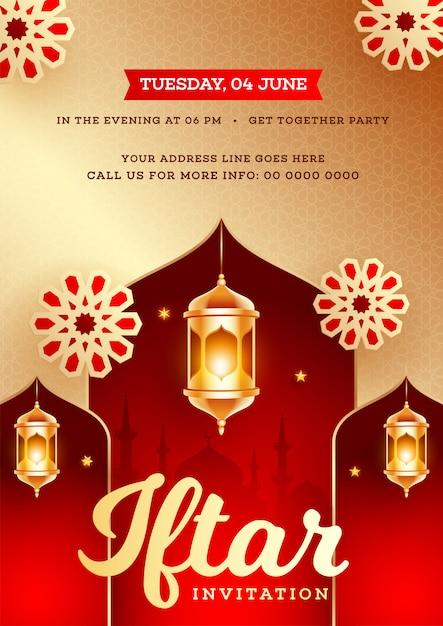 Conception de cartes d'invitation de fête iftar avec lante illuminée d'or Vecteur Premium