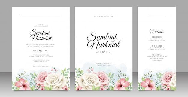 Conception de cartes d'invitation de mariage jardin floral Vecteur Premium