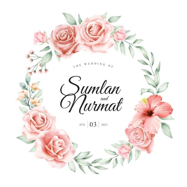 Conception de cartes de mariage couronne florale Vecteur Premium