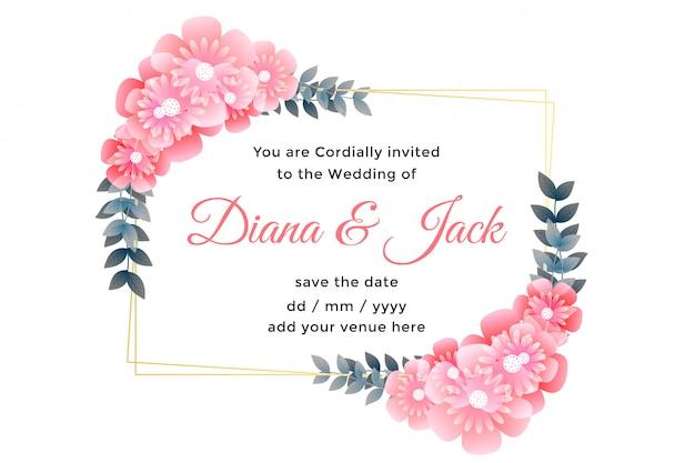 Conception de cartes de mariage décoratif belle fleur Vecteur gratuit