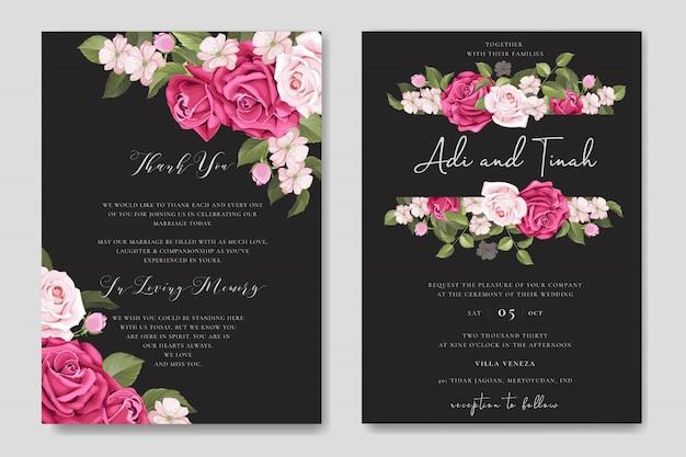 Conception de cartes de mariage élégant avec modèle de couronne de belles roses Vecteur Premium