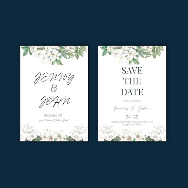 Conception de cartes de mariage fleurs thaïlandaises Vecteur gratuit