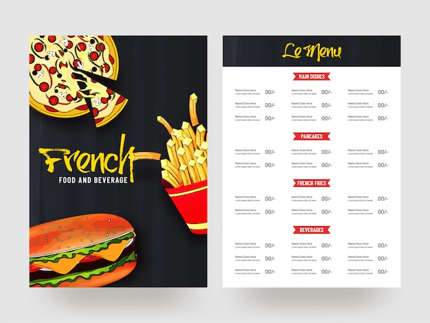 Conception de cartes de menu français food and beverage. Vecteur Premium