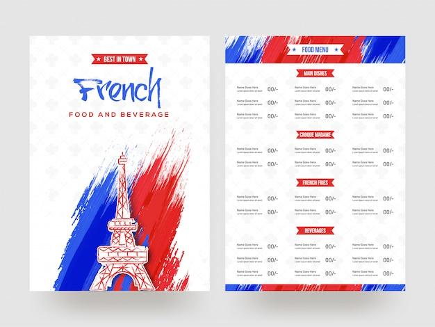 Conception de cartes de menu français food and beverage. Vecteur Premium