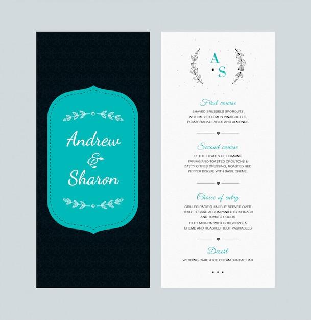 Conception de cartes de menu de mariage Vecteur Premium