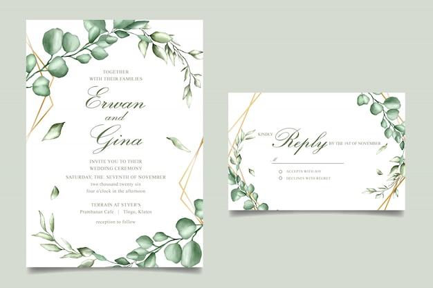 Conception de cartes modèle invitation de mariage avec aquarelle floral Vecteur Premium