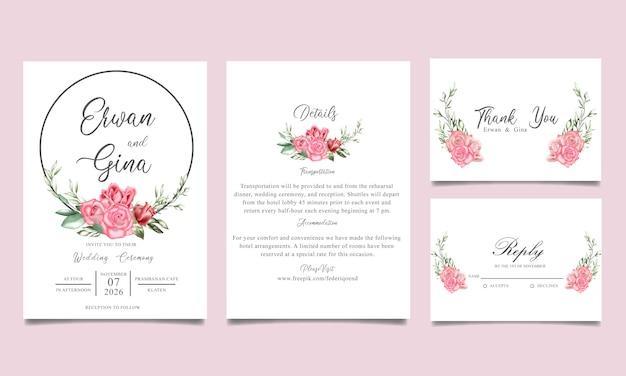 Conception de cartes modèle invitation de mariage avec aquarelle florale et feuilles Vecteur Premium