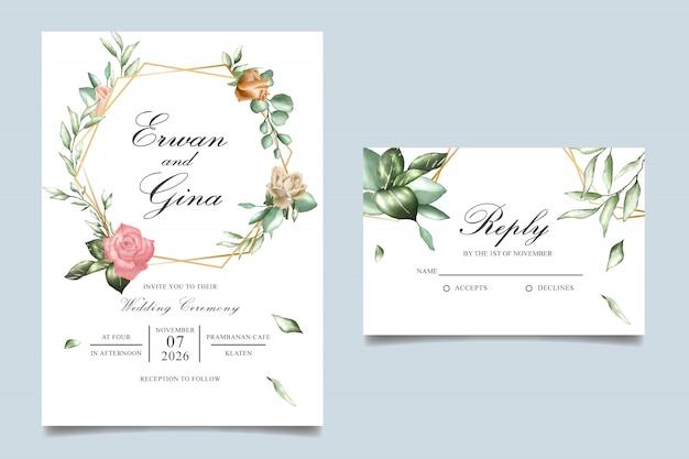 Conception de cartes modèle invitation de mariage aquarelle Vecteur Premium