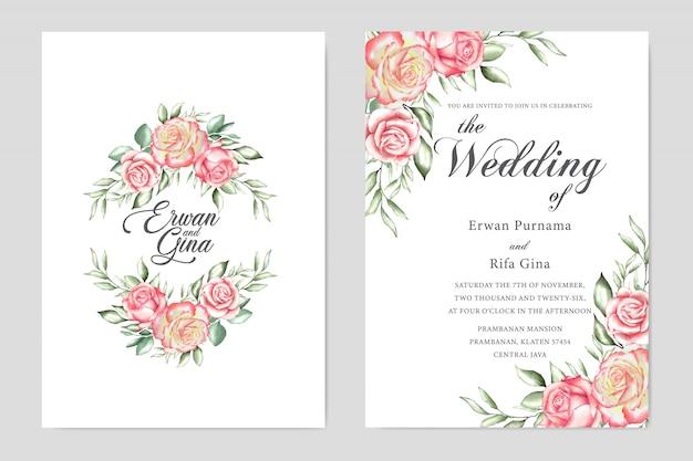 Conception de cartes modèle mariage floral invitation Vecteur Premium