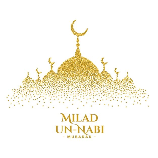 Conception De Cartes De Mosquée De Paillettes D'or Milad Un Nabi Vecteur gratuit