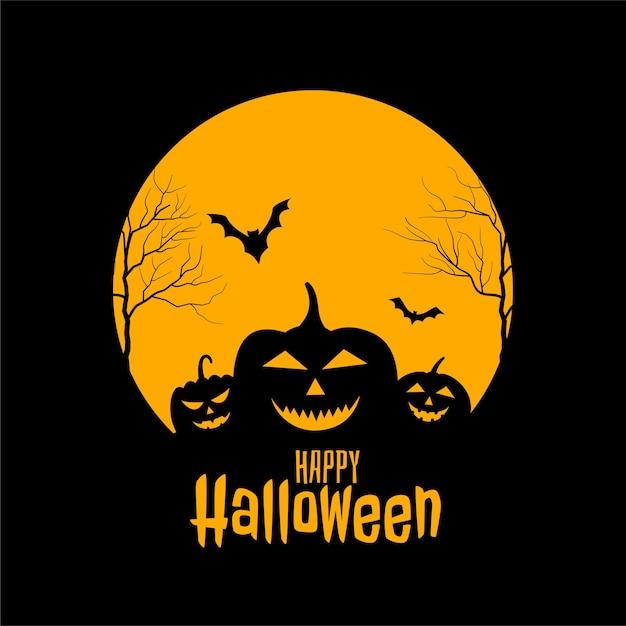 Conception De Cartes Noires Et Jaunes Effrayantes D'halloween Heureux Vecteur gratuit