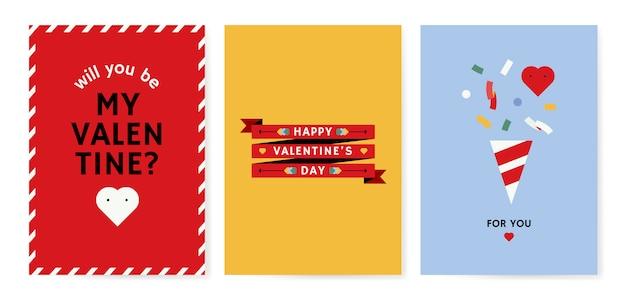 Conception De Cartes De Saint Valentin Vecteur gratuit