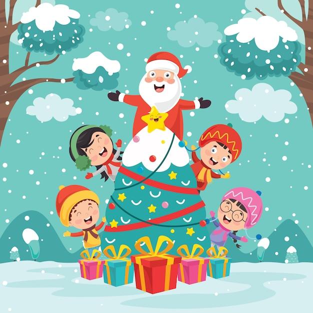 Conception De Cartes De Voeux De Noël Avec Des Personnages De Dessins Animés Vecteur Premium