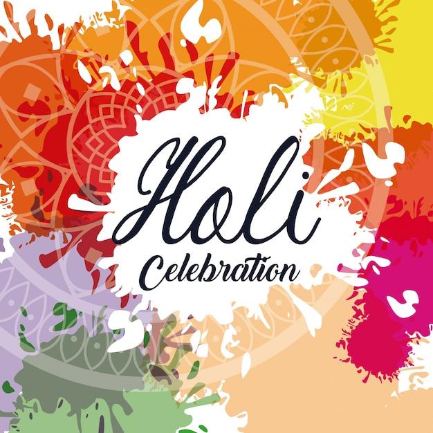 Conception de célébration holi Vecteur Premium