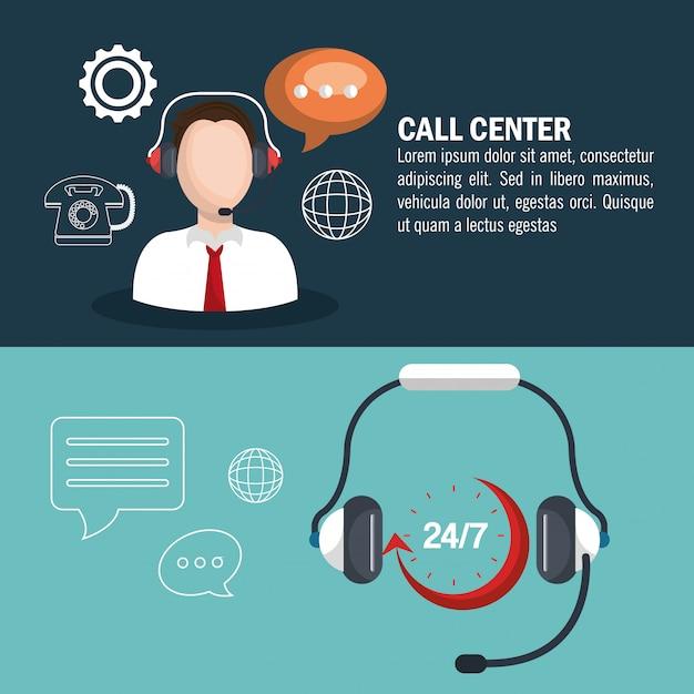 Conception de centre d'appel Vecteur gratuit