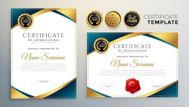 Conception De Certificat Professionnel Dans Le Thème D'or Premium Vecteur gratuit