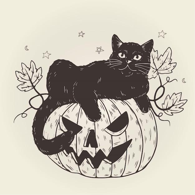 Conception De Chat Halloween Vecteur gratuit