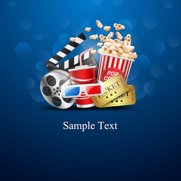 Conception de cinéma sur fond bleu Vecteur Premium