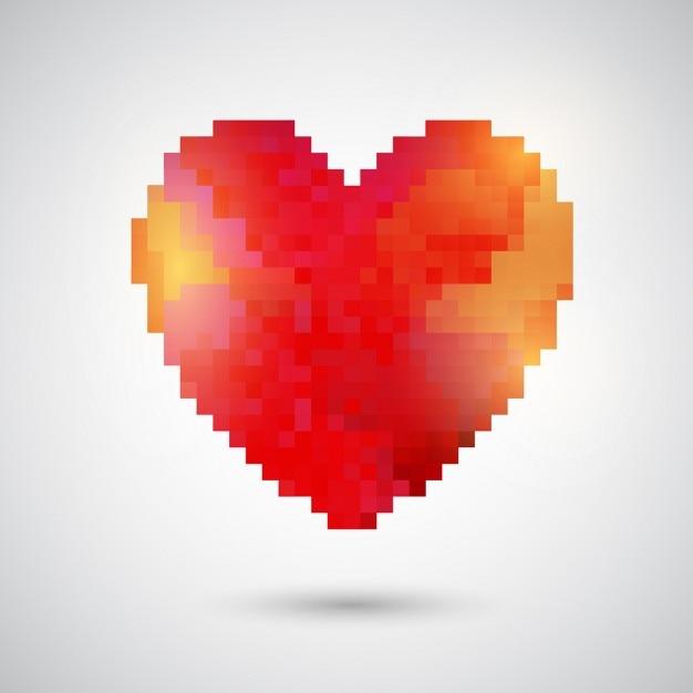 La conception de coeur pour la saint-valentin pixélisé Vecteur gratuit