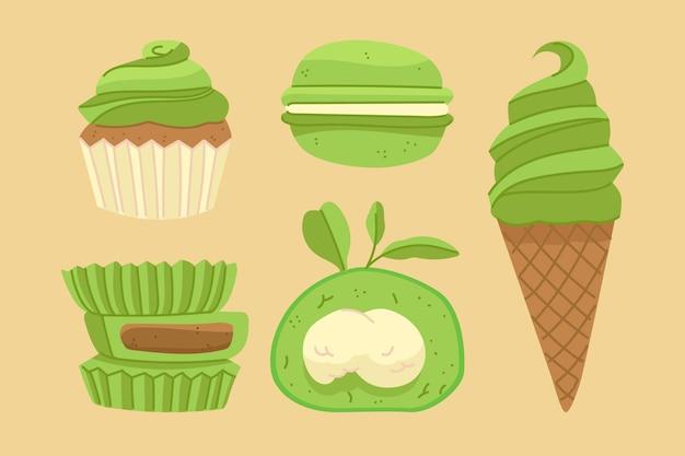 Conception De La Collection De Desserts Matcha Vecteur gratuit