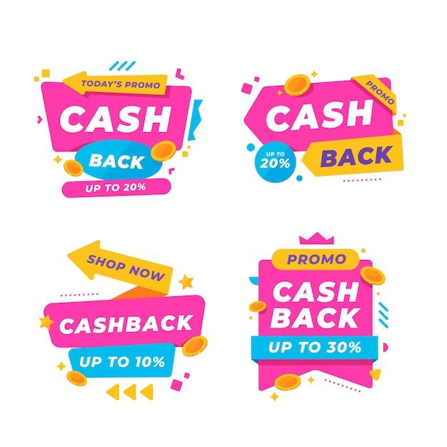 Conception De La Collection D'étiquettes Cashback Vecteur gratuit
