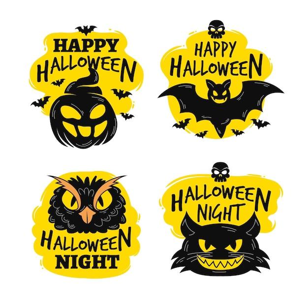 Conception De Collection D'étiquettes D'halloween Dessinés à La Main Vecteur gratuit